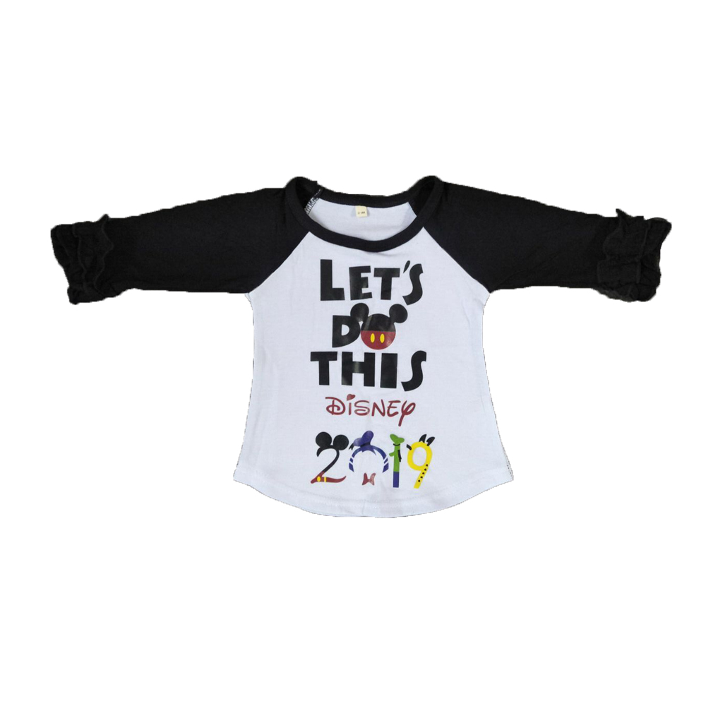 Girls Tops Long-Sleeve Black Fashion Children's Cute Apparel Letters Hot-Stamping Yll