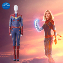 цена на 2019 Captain Marvel Costume Halloween Costume For Women Captain Marvel Jumpsuit Cosplay Captain Marvel Suit Custom Made