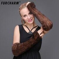 Vrouwen Nertsen Fur Armwarmers Herfst Winter 40 cm Echt Bont Gebreide Arm Mouwen Effen Kleur Gebreide Vingerloze handschoenen
