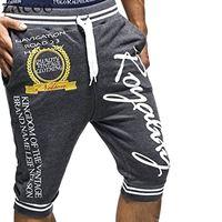 ZACOO 2017 homens Verão Moda Casual Médio-waiste Carta Impressão Cordão Joelho Capri Calças Curtas Dos Homens Shorts Masculinos