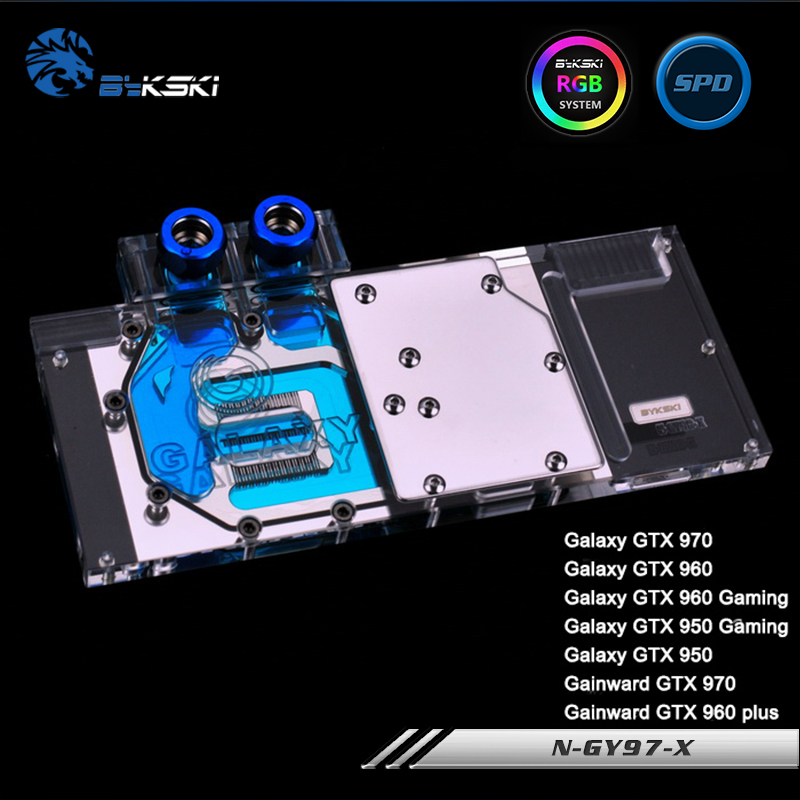 купить Bykski N-GY97-X Full Cover Graphics Card Water Cooling Block RGB/RBW/ARUA for Galaxy GTX970 GTX960 GTX760 GTX660TI онлайн
