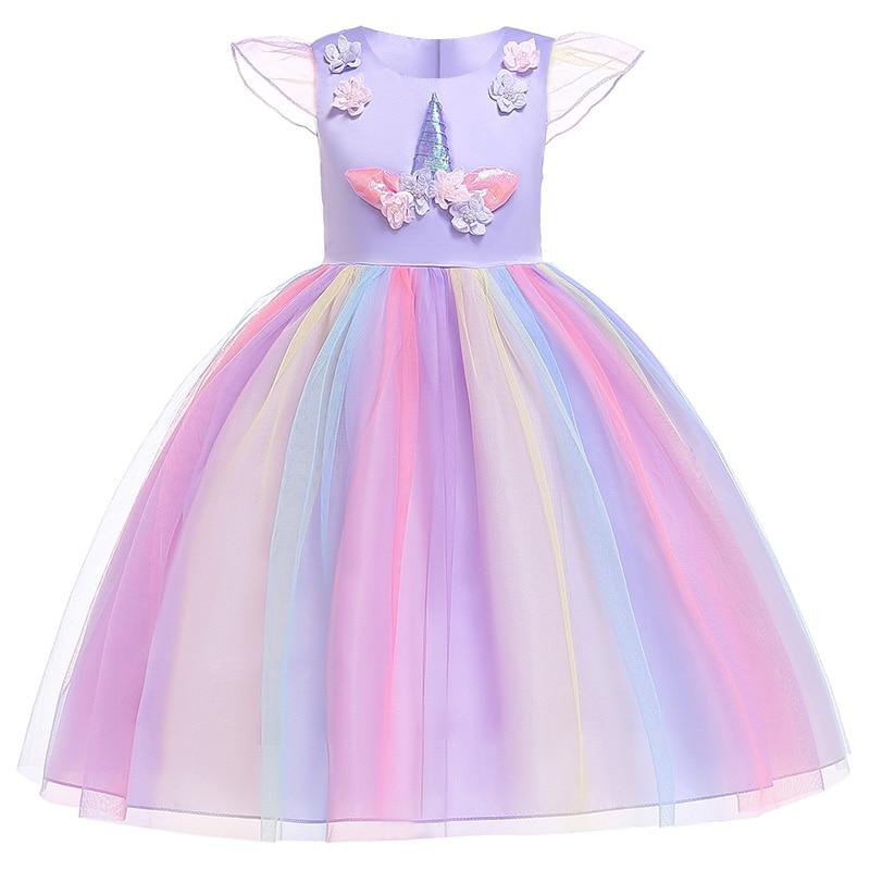 HTB1ht9eacnrK1RjSspkq6yuvXXaW Unicorn Dresses For Elsa Costume Carnival Christmas Kids Dresses For Girls Birthday Princess Dress Children Party Dress fantasia