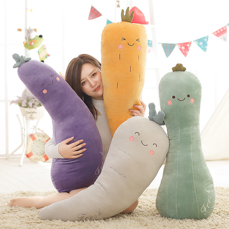 High Quality 80cm Fruit Pillow Eggplant Radish Vegetable Pillow Plush Toy Baby Toy Pillow Household Supplies