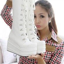 Г. Новые Модные женские ботинки на шнуровке с перекрестными ремешками ботинки на платформе с высоким голенищем тонкие ботинки черный белый, Размеры 35-39,#0357
