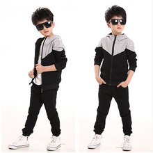 Boys Clothes Set Kids Spring Autumn Jogging Tracksuits for Baby Boy Hooded Jacket+Pants Sports Suit Children Clothing Sets black