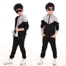 Boys Giyim Seti Çocuklar Bahar Sonbahar Koşu Eşofman Erkek Bebek Kapüşonlu Ceket + Pantolon spor elbise Çocuk giyim setleri siyah