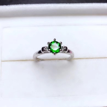 Natural green diopside gem Ring S925 Silver Natural Gemstone Ring Fashion Elegant Lovely round Women's girl party gift  Jewelry