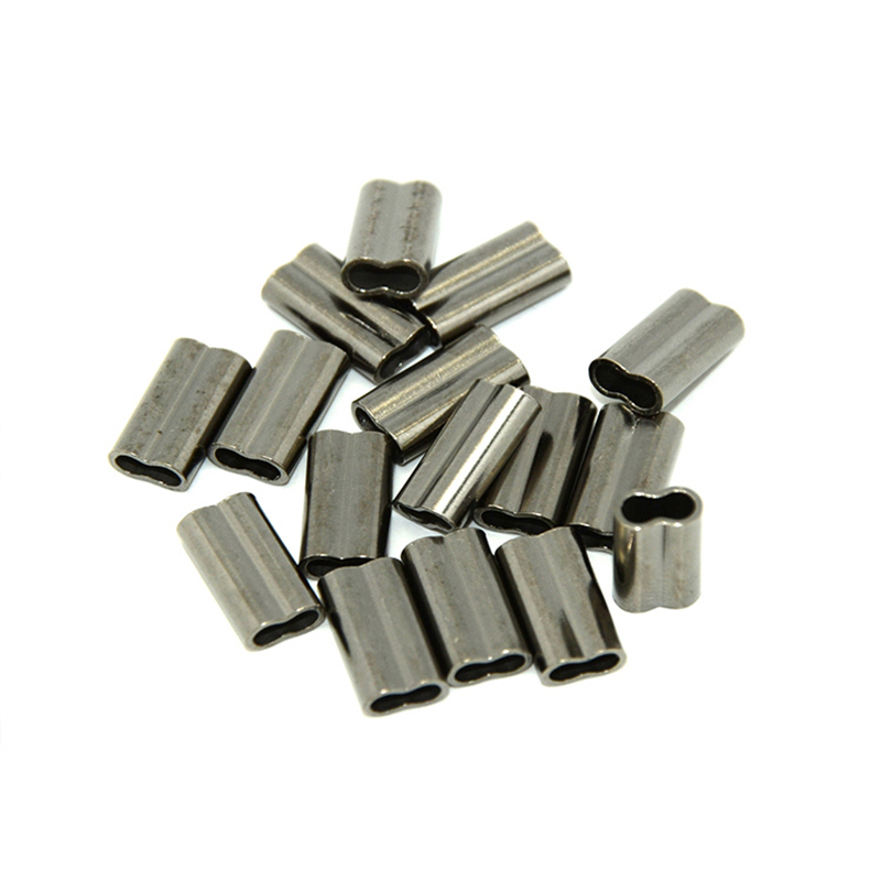 100pcs Double Copper Fishing Tube Fishing Wire Pipe Crimp Sleeves Connector Diameter 6 Sizes