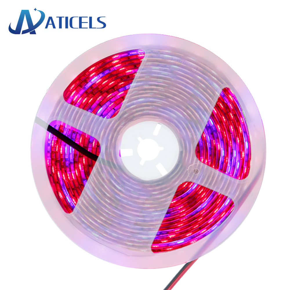 LED Grow Light Full Spectrum 5M/lot DC 12V LED Strip Lights SMD 5050 Red Blue 3/4/5:1 For Greenhouse Hydroponic Plant Growing