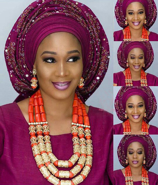יוקרה סט תכשיטי חרוזים קורל נדל חתונה ניגרית מסורתיים אפריקאים חתונת קורל סט תכשיטי נשים הצהרת זהב CNR172