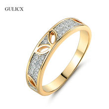 GULICX New Fashion Rabbit Ear Finger Rings for Women Gold-color Clear Crystal Rings Paved with AAA CZ Zircon Party Jewelry R255(China)