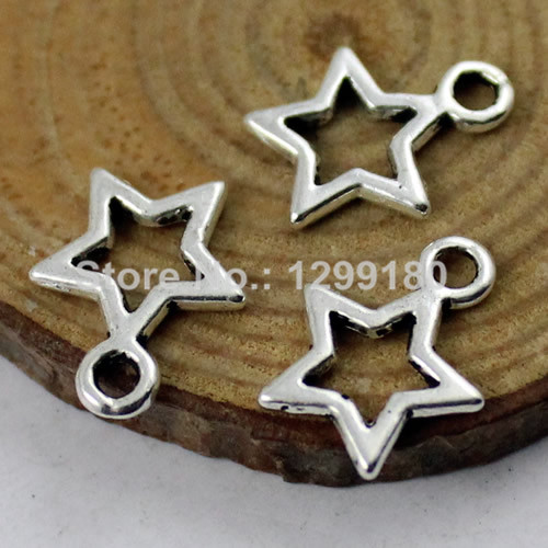 Antique Silver Alloy Five-point Stars Pendants Finding Crafts Charm 100pcs 31994