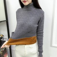 2018 Winter plus Thick Velvet knit sweater Velvet lining warm Pullover High necked Sweater female Thick Turtleneck sweater