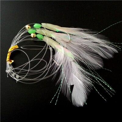 3 packs mackerel feathers//bass//pollock//cod//boat 5 HookTinsel Rig