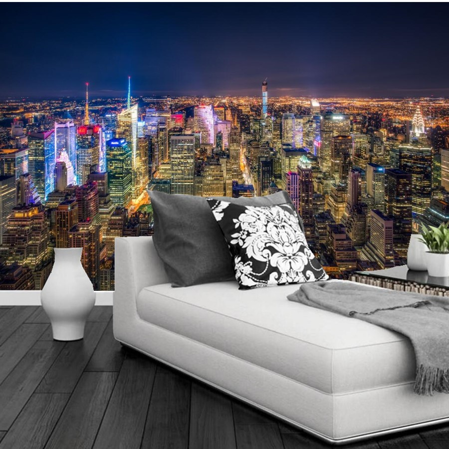 Custom 3d murals,USA Skyscrapers New York City Megapolis Night Cities wallpapers,living room TV wall bedroom papel de parede