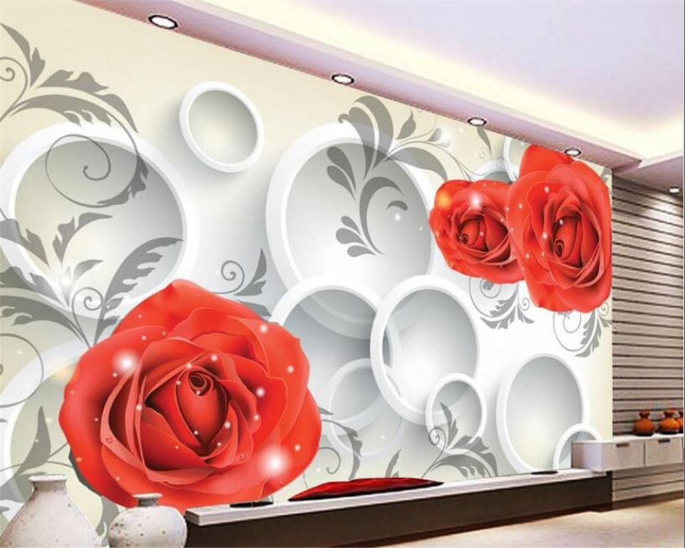 beibehang Hanging on the wall of the wallpapers 3d roses background wall circle papel de parede wallpaper for walls 3 d behang beibehang modern luxury circle design wallpaper 3d stereoscopic mural wallpapers non woven home decor wallpapers flocking wa