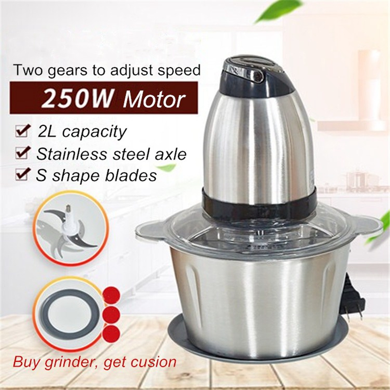 2 Speeds Stainless steel 2L Automatic Meat Grinder Mincer Chopper Food Processor