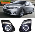 eeMrke COB Angel Eyes DRL For Toyota Corolla Fog Lights H11 55W Halogen Bulbs LED Daytime Running Lights Kits