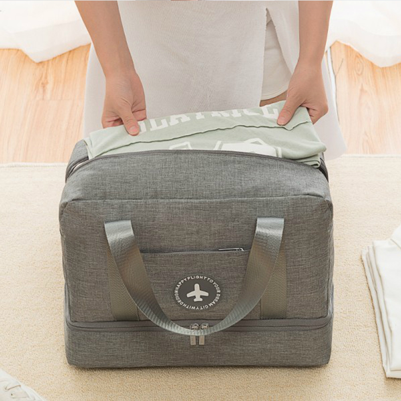 Waterproof Luggage Travel Bag Portable Double Layer Design Duffel Storage Clothes Shoes Bags Bra Underwear Baggage Zipper Pouch