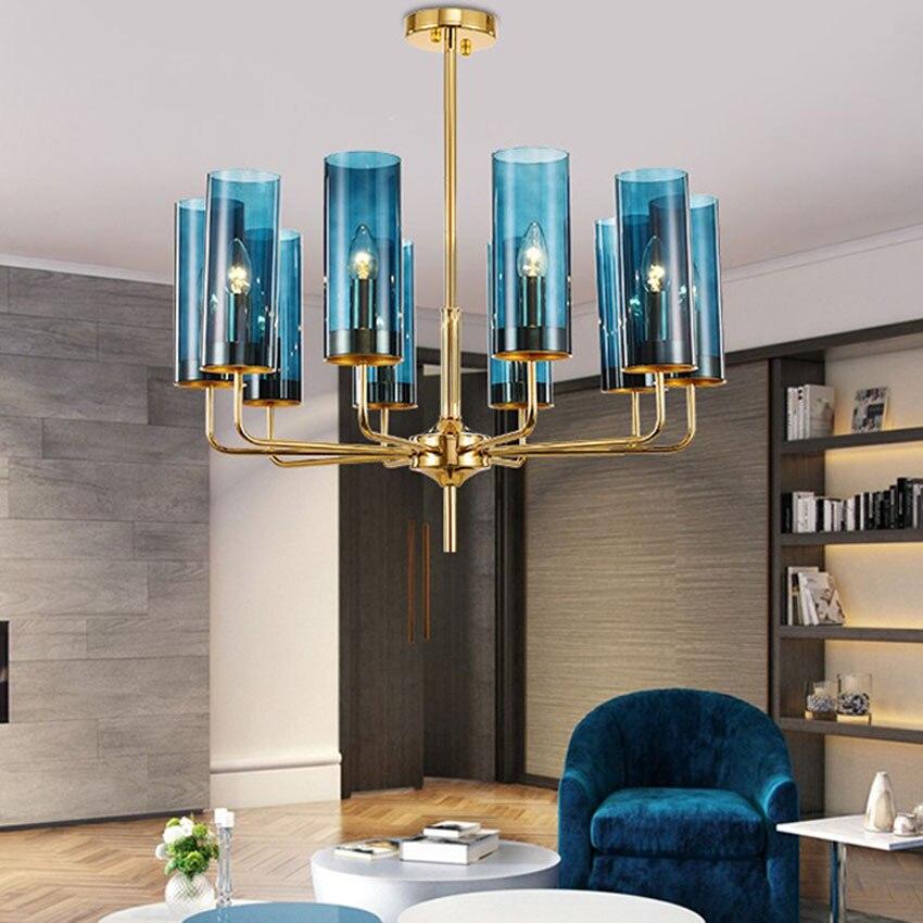Modern luxury glass chandelier lighting 6 15 heads blue/Cognac nordic hang lamp living dining room bedroom indoor light fixture-in Chandeliers from Lights & Lighting    1