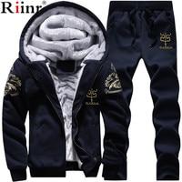 Riinr Men Set Fashion Winter Tracksuits Fleece Lined Hoodies Sweatshirt + Pants Track Suit Mens Hoodie Sporting Suits