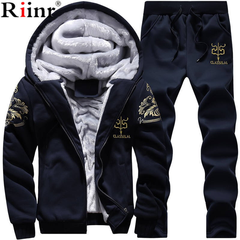 Riinr Men Set Fashion Winter Tracksuits Fleece Lined Hoodies Sweatshirt + Pants Track Suit Mens Hoodie Sporting Suits