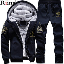 Riinr Men Set Fashion Winter Tracksuits Fleece Lined Hoodies Sweatshirt + Pants Track Suit Mens Hoodie Sporting Suits(China)