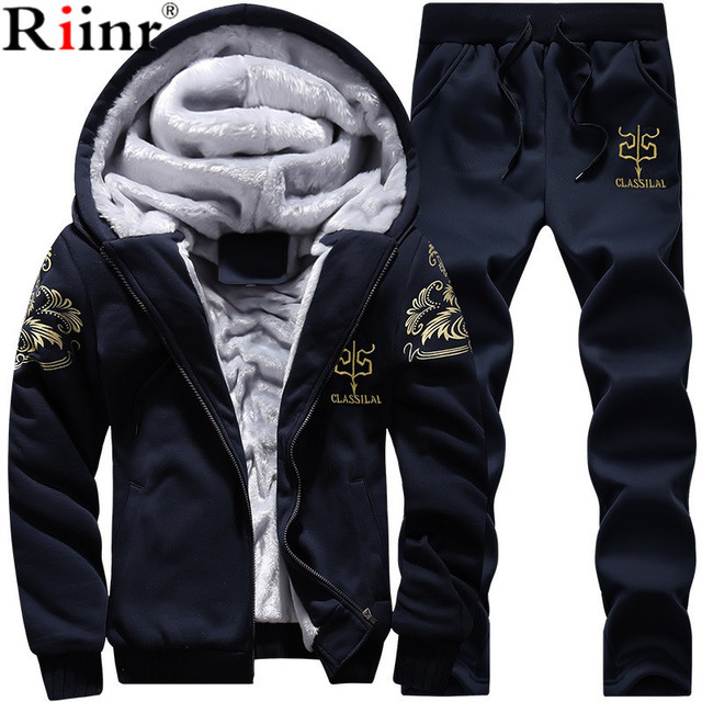 98a6f9a6 Riinr Men Set Fashion Winter Tracksuits Fleece Lined Hoodies Sweatshirt + Pants  Track Suit Mens Hoodie