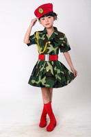 2017 Fashion Green Teen Clothing Soldier Costume For Kids Clothes For Sale Meisjes Camouflage Dress