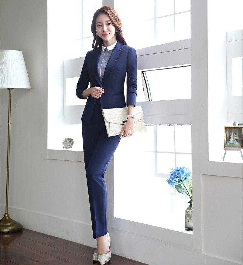 D'affaires Salon Dames Avec Beauté Costumes Bureau De Conceptions Pantalon Noir Ensembles Veste Uniforme Blazer Noir bleu Formelle Et Femmes xOfqXX1