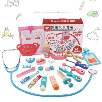 Children Wooden Doctor Set Toy Dentist Medicine Box Accesories Kit Simulation Doctors Pretend Play House Toys For Kids Baby Gift kids toys doctor set baby suitcases medical kit cosplay dentist nurse simulation medicine box with doll costume stethoscope gift
