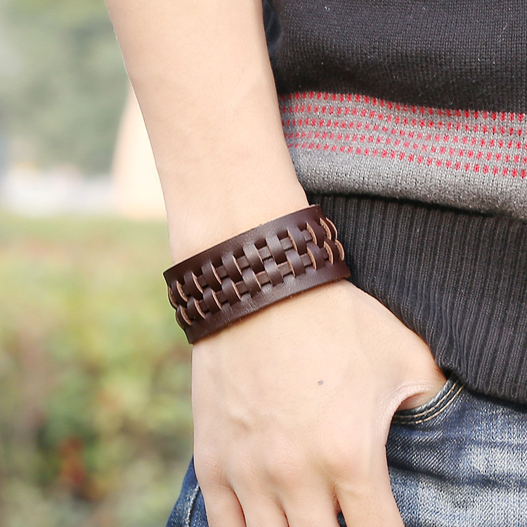 New Vintage Braided Genuine Leather Bracelets Fashion Brown Punk Cuff Bracelets Bangles For Women Men Jewerly Summer Style PG057
