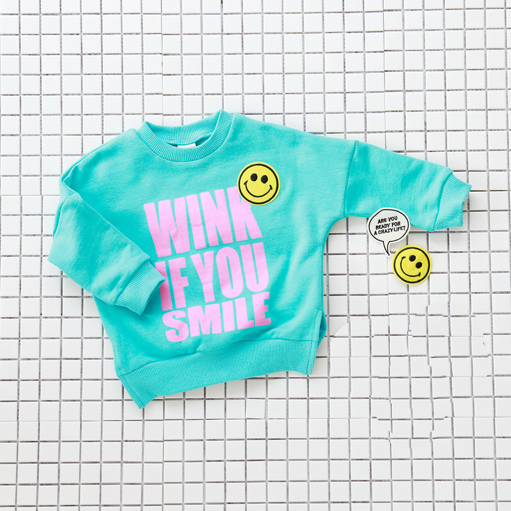 Autumn Childrens Hoodies Casual Smiling Face Pasted Cloth Embroidered 100% Cotton Long sleeve T-shirt Boys Girls Kids Clothes