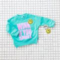 Autumn Children's Hoodies Casual Smiling Face Pasted Cloth Embroidered 100% Cotton Long sleeve T-shirt  Boys Girls Kids Clothes
