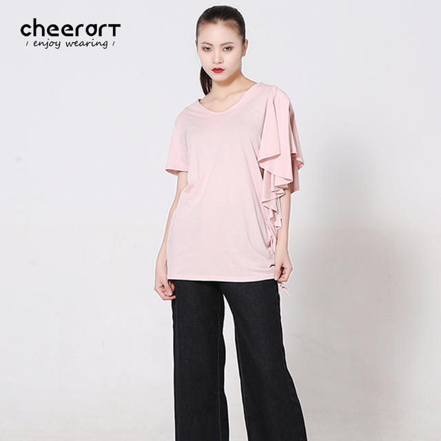 31ac2a80ae00 Cheerart 2017 Summer Ruffle Sleeve T Shirts For Women Pink V Neck Cotton  Fitness Korean Style Top Tee Shirt Femme