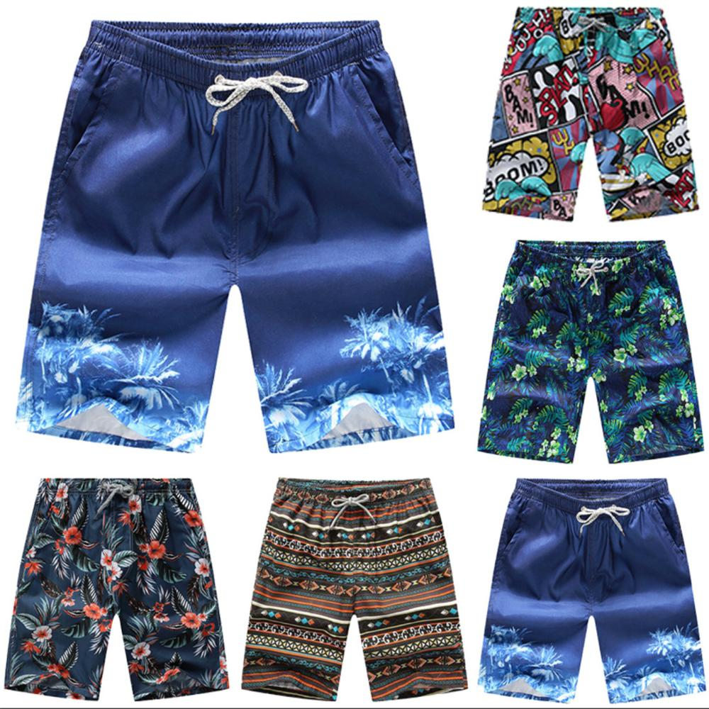 GEJIAN Swimshorts Men Hawaiian Beach Shorts Quick-drying Print Swimming Surf Shorts Drawstring Elastic Waist Sunga Masculina