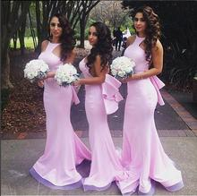 Cheap Pink wedding girls bridesmaid dresses mermaid wedding guest dresses styles floor length online sale