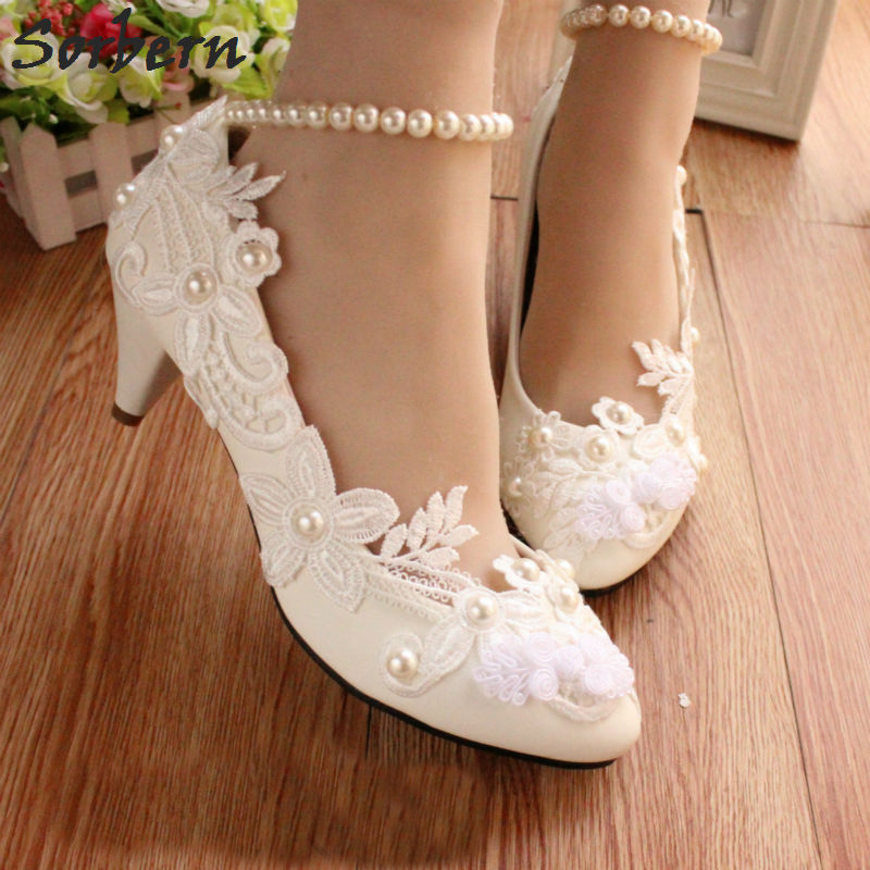 Sorbern White Lace Flower Wedding Shoes 5Cm Kitten Heeled Pump Chinese Knot  Beading Ankle Straps Shoes 00ef4bc4793f