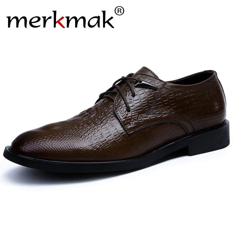 Genuine cowhide leather men dress shoes brown black oxford shoes for men business formal leather crocodile grain men flat shoes