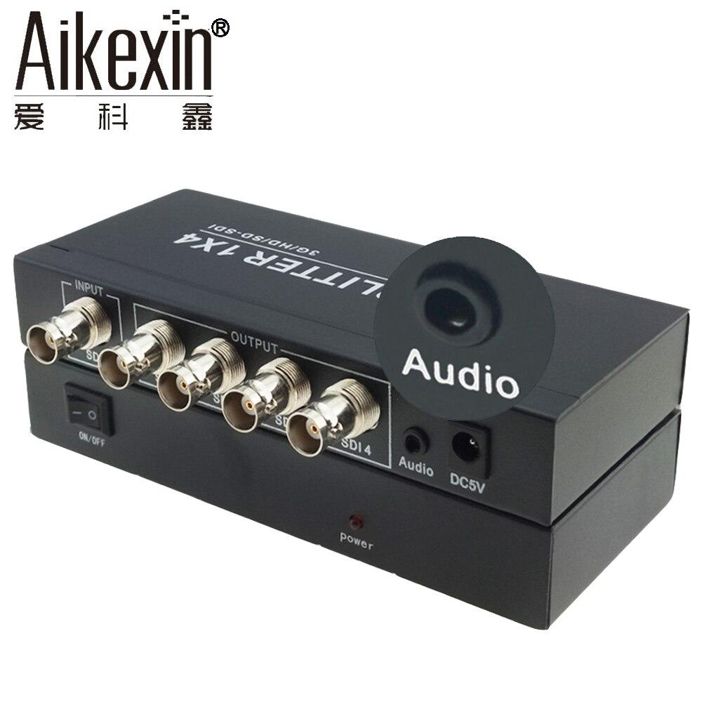 Aikexin SDI Splitter 1x4 with 3.5mm jack,4 Port SDI Splitter 1 input 4 output HD SDI Converter Support 1080p for Camera sdi splitter 1x4 3g hd sdi repeater 4 port sdi splitter support 1080p 100m distribution extender free shipping