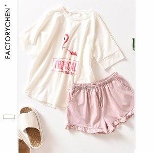 Image 2 - Flamingos pijama feminino de manga curta + shorts, conjunto de pijama para casa, cor 100% algodão, recomendado para o verão, roupas para mulheres
