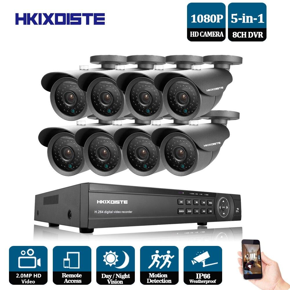 HKIXDISTE HD Outdoor Security Camera System 1080P HDMI CCTV Video Surveillance 8CH 1920*1080P AHD DVR Kit AHD 2.0MP Camera Set