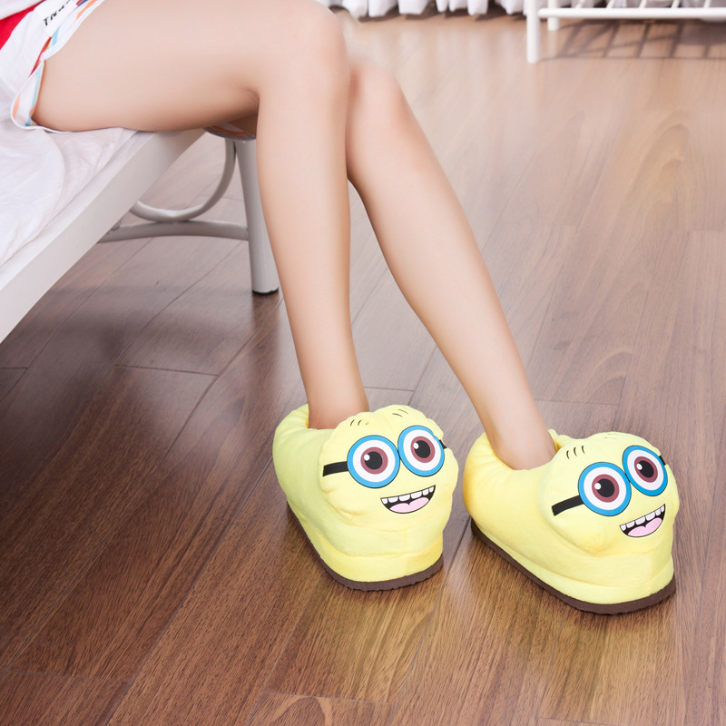 Indoor Soft Emoji Slippers Cartoon Plush Slipper Home With The Full Expression Women/ Men Slippers Winter House Shoes One Pair soft plush big feet pattern winter slippers