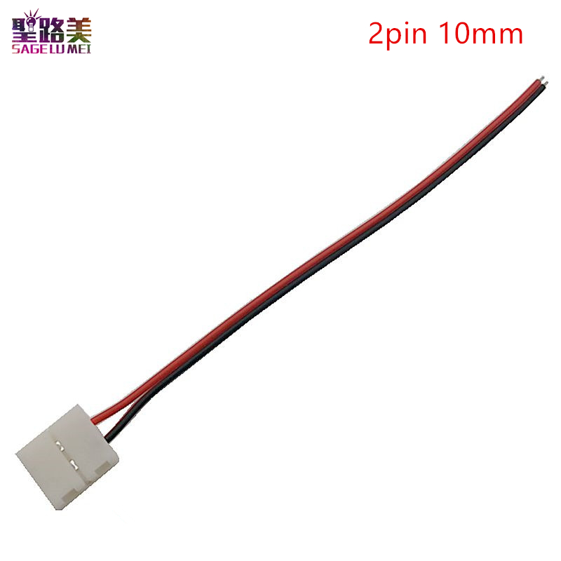 цены 10pcs /20pcs/ 50pcs 2pin 8mm 10mm led connector cable No need Welding For 5050 3528 Single Color LED Strip Light Tape Ribbon