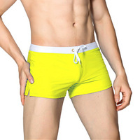 Yellow-Swimwear Men Boxer Shorts Swim Trunks Swimming Surf