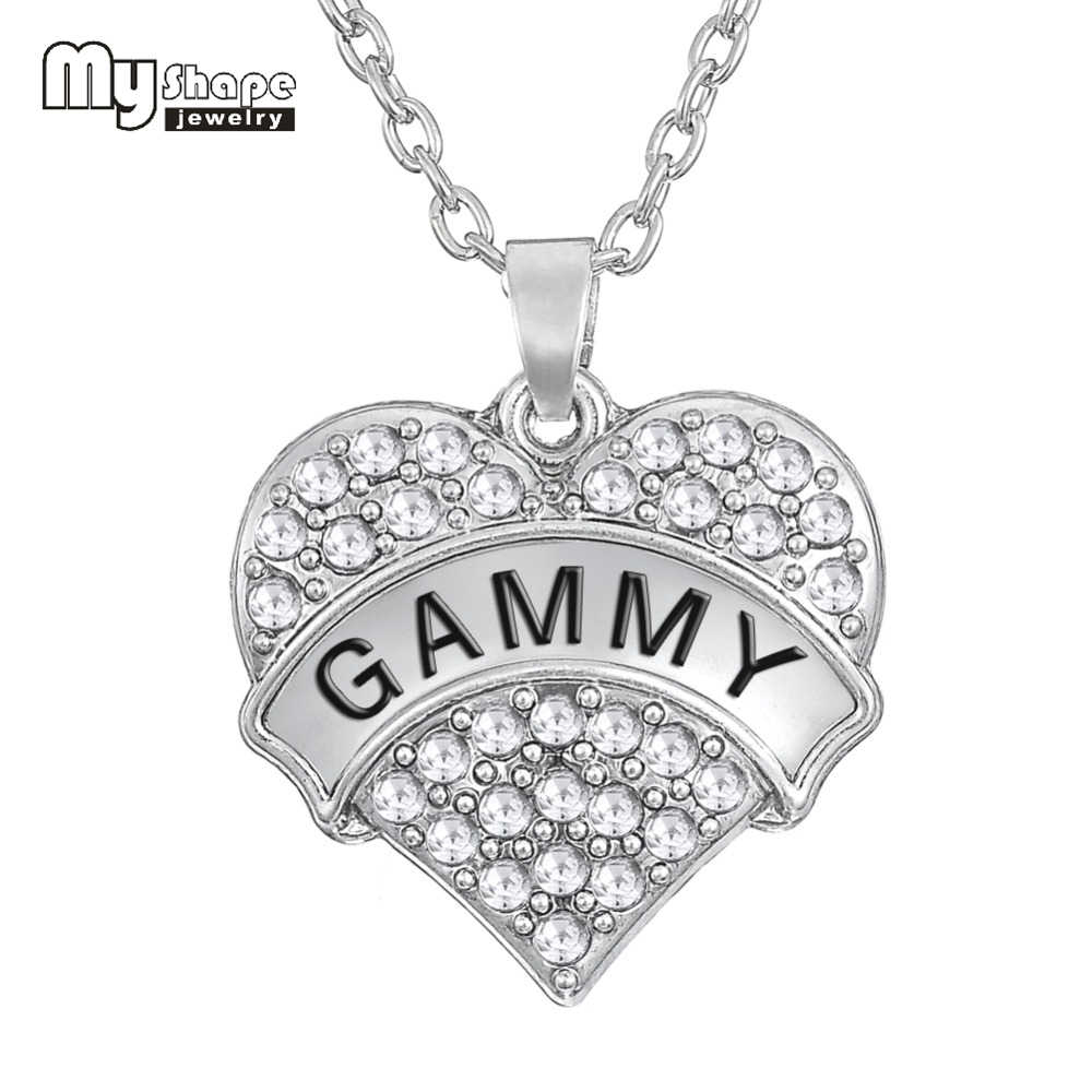 my shape Grandma Pendant Necklace Gammy Family Jewelry Lobster Heart Pendant Blue Pink Rhinestone Women Necklace Best Gift