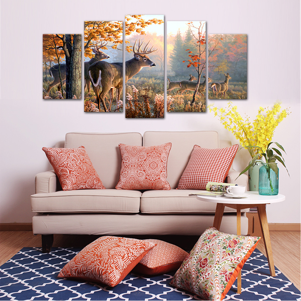 Unframed HD Print 5 Canvas Art Painting Elk Living Room Decoration Spray Painting Mural Unframed Free Shipping