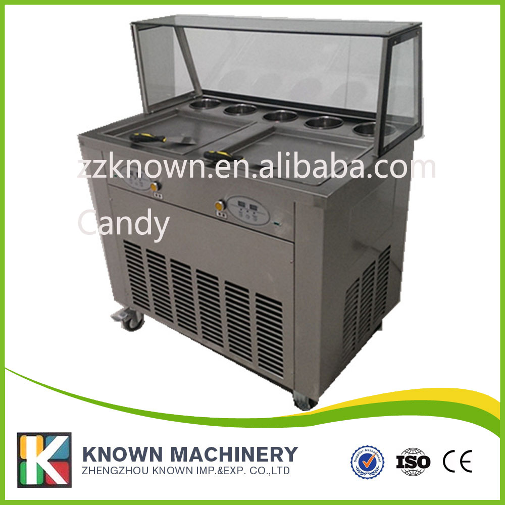 Cheap price with frond glass thailand 2 pan fry ice cream roller machine,ice cream roll freezer machine flame out solenoid 3930233 12v with cheap price