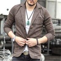 2016 Casual Men Knit Suit Blazer Business Slim Costume Homme Blaser Masculino Male Woolen Suits Vintage