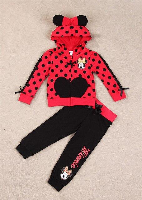 Девочки одежда наборы мультфильм минни маус 2015 зима детская одежда хлопка случайные костюмы детская одежда спортивный костюм горячие